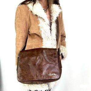 Vtg Jason & Beryl leather Messenger cross body bag